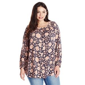 Lucky Brand Pink Floral Long Sleeve Blouse XL